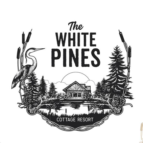 Cottage design with the title 'logo for The White Pines'