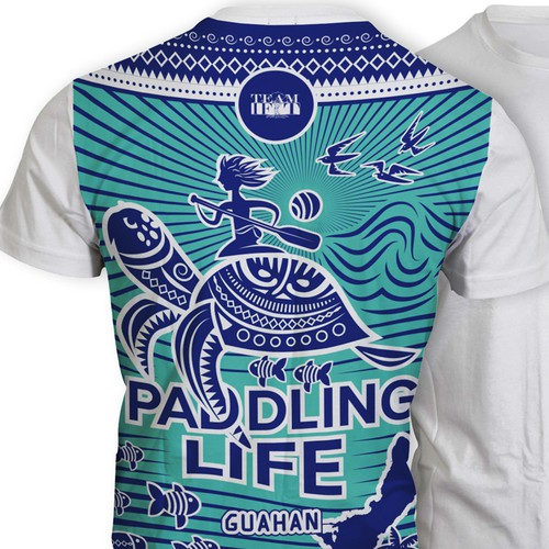 Sun t-shirt with the title 'T-shirt design for Outrigger Paddling Team'