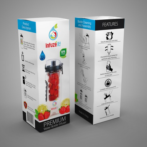 Drink packaging with the title 'Infuze It bottle box design'
