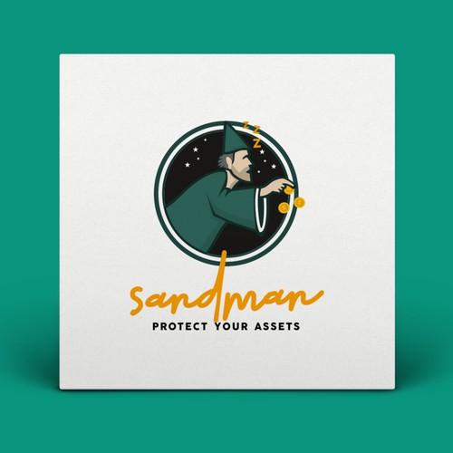 Radio station design with the title 'SANDMAN LOGO DESIGN'