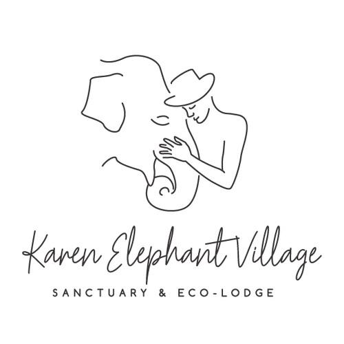Elephant head logo with the title 'Elephant village logo'