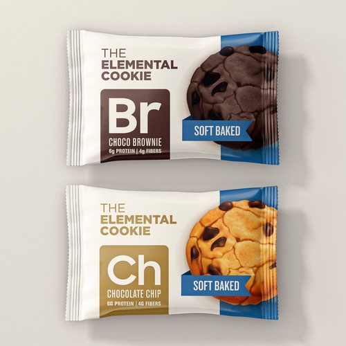 Biscuit packaging with the title 'The Elemental Cookie'