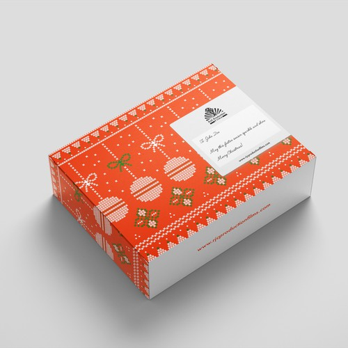 Christmas packaging with the title 'Christmas Mailer Box'