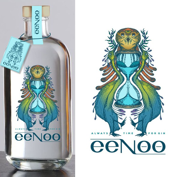 Gin logo with the title 'eeNoo label design '