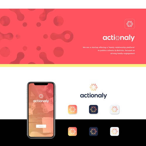 Bright logo with the title 'Logo design for Actionaly'