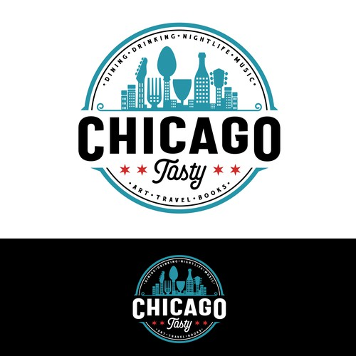 Modern vintage design with the title 'Chicago Tasty'