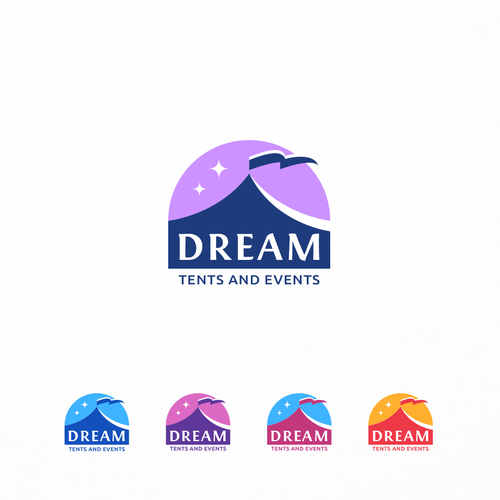 Sunset logo with the title 'Dream Tents & Events'