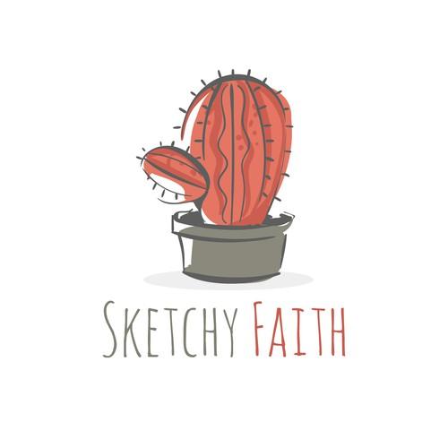 Cactus logo with the title 'Sketchy Faith'