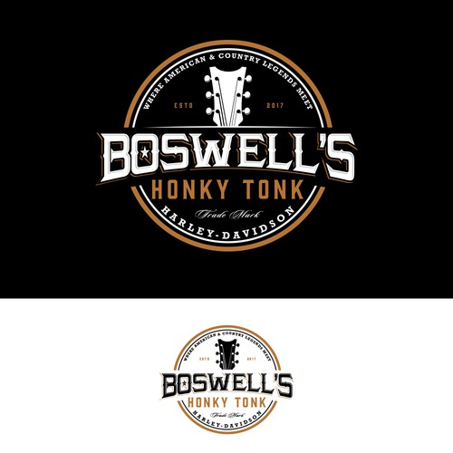 Modern vintage logo with the title 'Boswell's Honky Tonk Harley-Davidson'