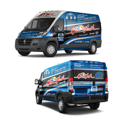 Blue and black design with the title 'Dealership Van for delivery parts'