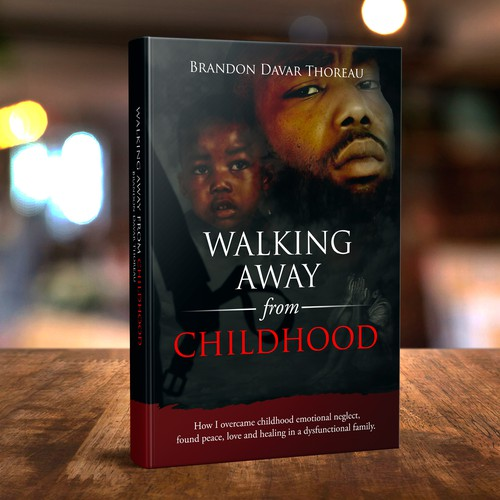 Biography design with the title 'Walking Alway from Childhood'