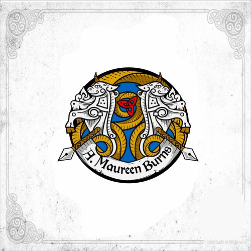 Celtic knot logo with the title 'celtic unicorn emblem '