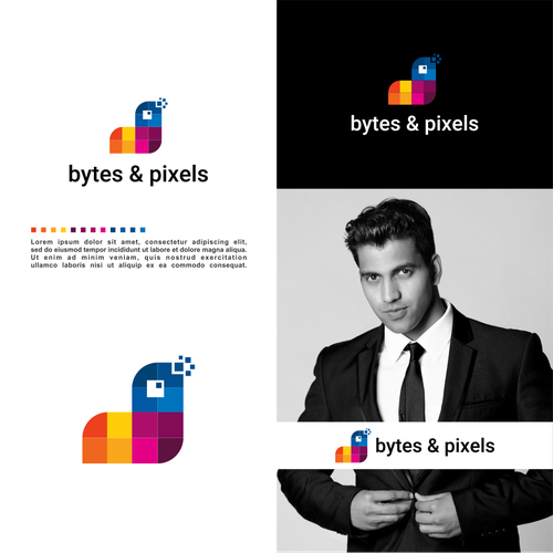 Pixel brand with the title 'Modern Logo and Corporate Identity for Software Development Agency'