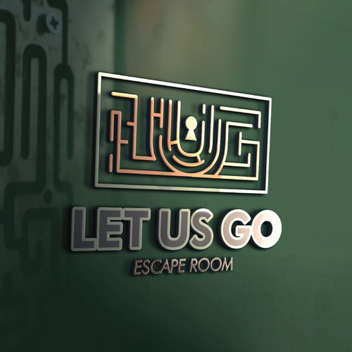 "Escape room logo with the title 'Logo for ""Let Us Go -- Escape Room""'"