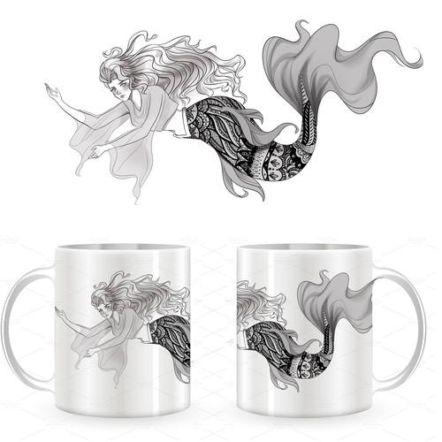 Mermaid illustration with the title 'mermaid mug'