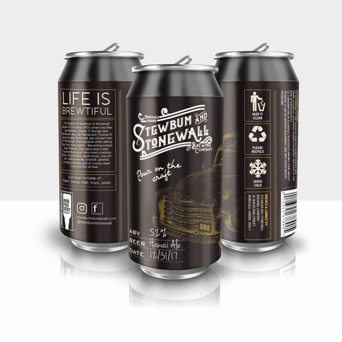 Can design with the title 'Stewbum and Stonewall Brewing Co. Beer'