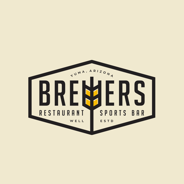 Sports bar logo with the title 'Brewers restaurant logo'