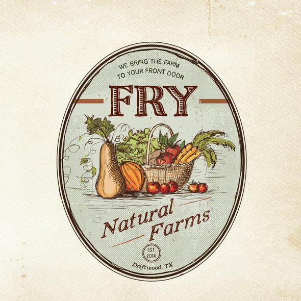 Farmer's market design with the title 'Create a Vintage Farm Logo'