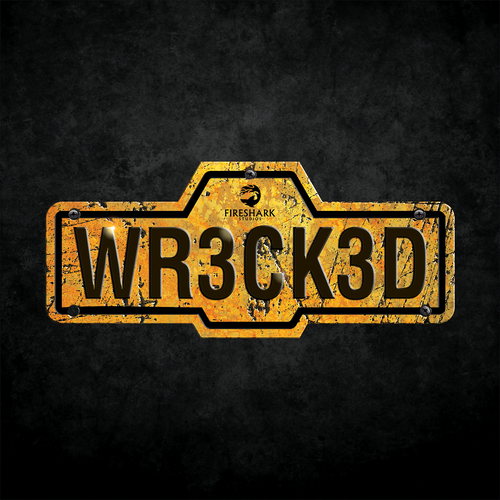 Plate design with the title 'Wrecked - Fireshark studios'