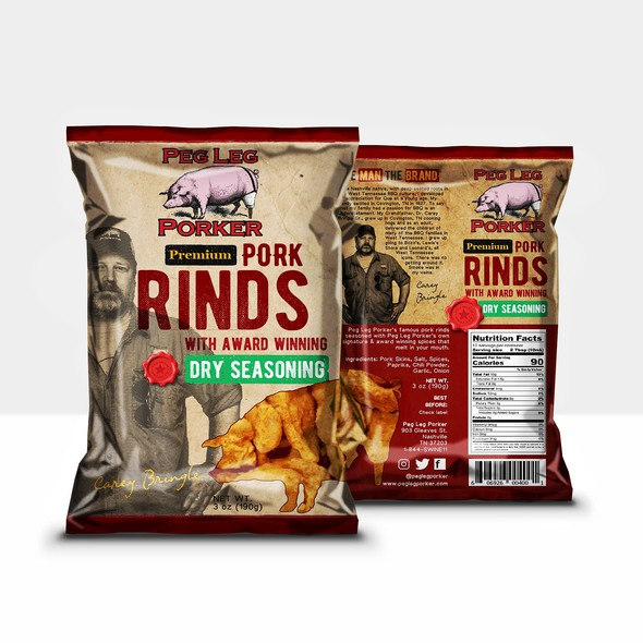 Restaurant packaging with the title 'Famos Peg Leg Porker Rinds'