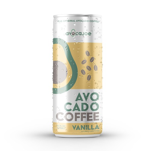 Vanilla design with the title 'Beverage Can Design for the Worlds First RTD Avocado Coffee!!'