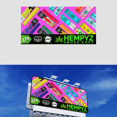 Pop and Puff bar vape billboard design