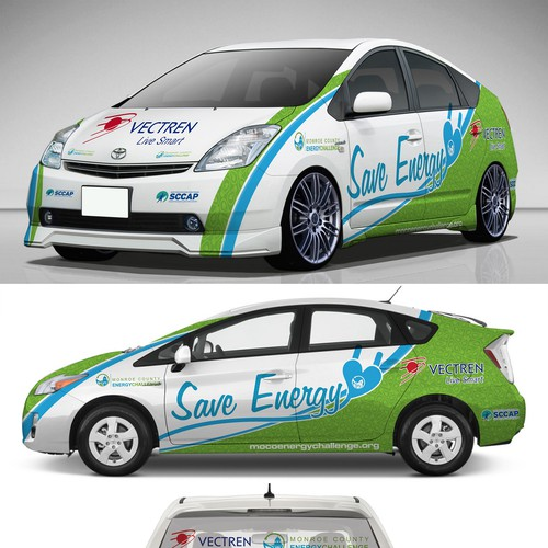 Livery design with the title 'Mobilize a community to save energy with an engaging, colorful vehicle wrap'