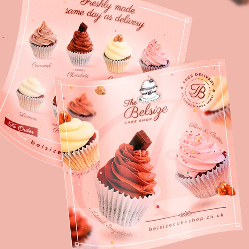 Cupcake design with the title 'Fun and feminine Cupcake 2 sided flyer'