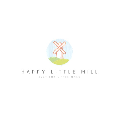 Cloth logo with the title 'Happy Little Mill - Clean, soft & minimal - Winning design'