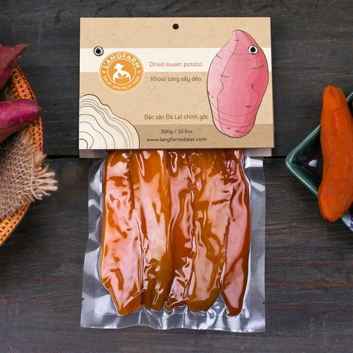 Kraft paper packaging with the title 'Dried sweet potato'