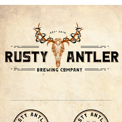 Brewery logo with the title 'LOGO FOR RUSTY ANTLER BREWING'