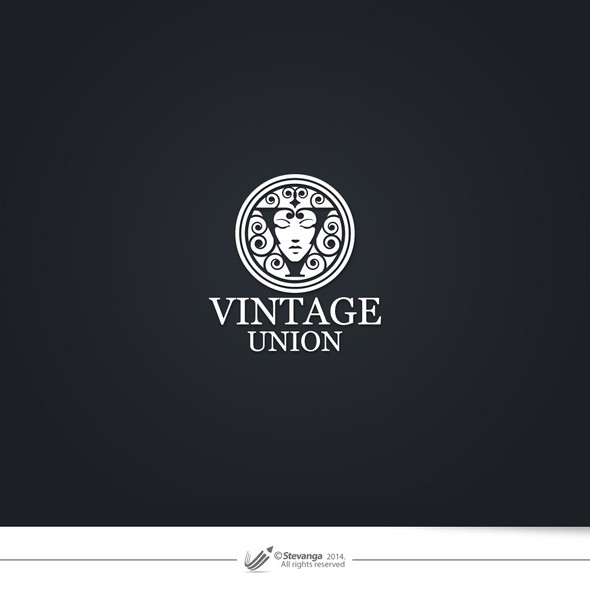 Woman face logo with the title 'Vintage Union'