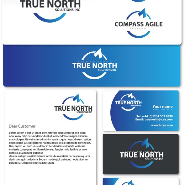 Stationery brand with the title 'New logo wanted for TrueNorth Solutions, Inc / Compass Agile Enterprise'