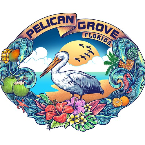 T-shirt with the title 'pelican grove'
