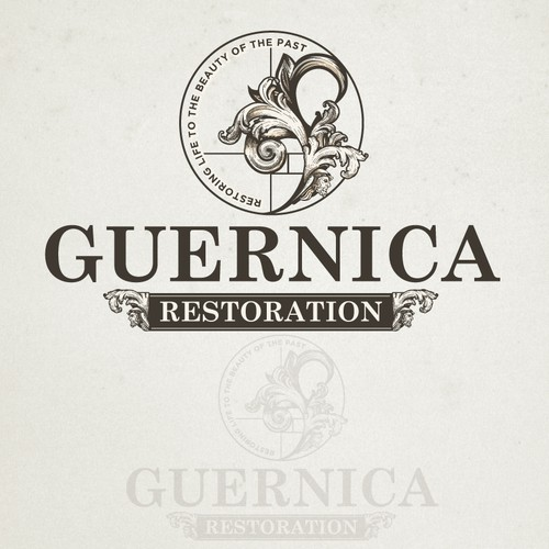 Brown and gray logo with the title 'Guernica Restoration'