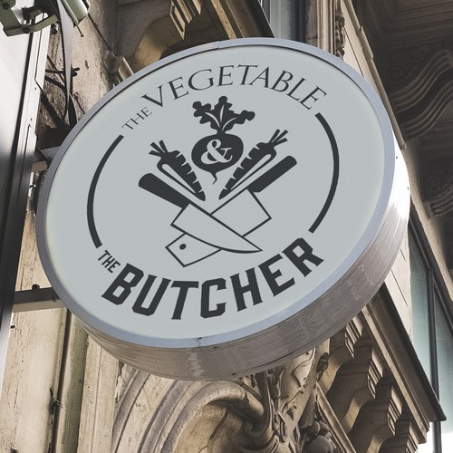 Food store logo with the title 'Vegetable and Butcher logo'