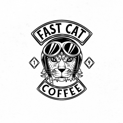 Sticker logo with the title 'Bold motorcycle inspired logo for coffee shop.'