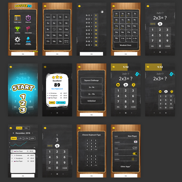 Blackboard design with the title 'Mobile App of multiplication'