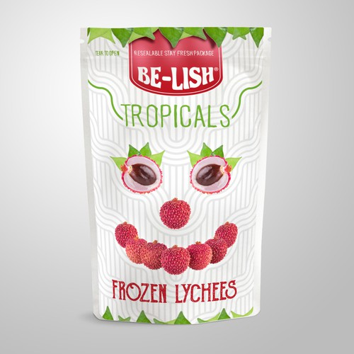 Tropical packaging with the title 'Funny Design fpr Frozen Lychees'