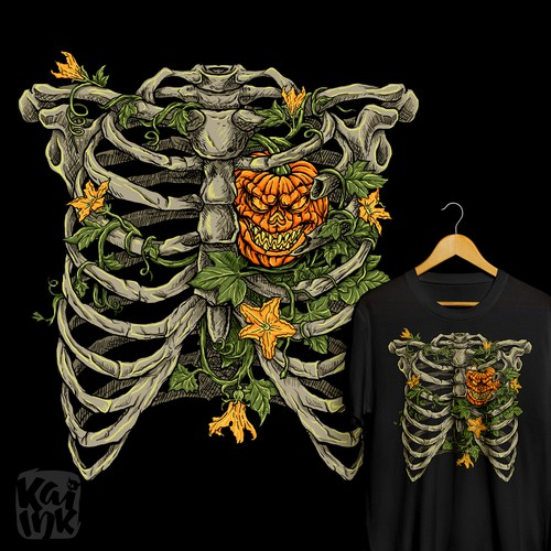 Halloween t-shirt with the title 'T-shirt design for halloween addicts'