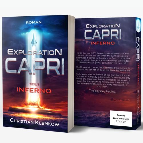 "Spaceship design with the title 'Hard sci-fi ""Exploration Capri""'"