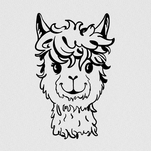 Alpaca design with the title 'T-shirt graphic'