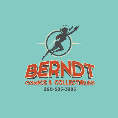 Sci-fi logo with the title 'Berndt Comics & Collectibles'
