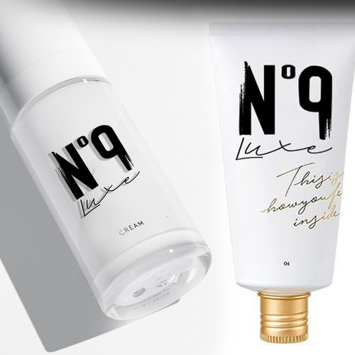 Brush stroke design with the title 'Luxury logo for Nº 9 hair care product line'