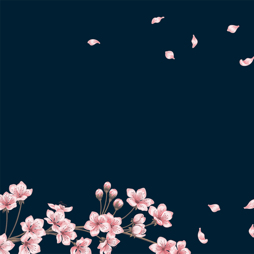 Floral artwork with the title 'Pink Flowers on Branch on a Navy Background'
