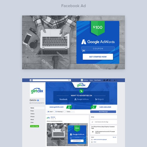 Campaign design with the title 'Facebook cover and ad'