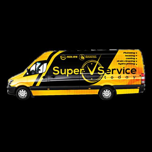 Van design with the title 'Super Service Today Van wrap design'