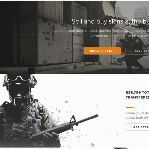 Light website with the title 'CSGO Skins Marketplace Design'