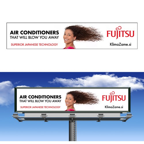 Copywriting design with the title 'Billboard Concept for Fujitsu Air Conditioners'