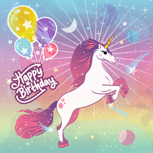 Professional artwork with the title 'Unicorn birthday box design'
